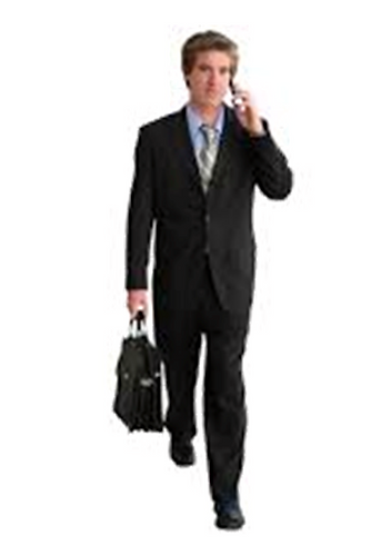 Man on the phone holding a bag