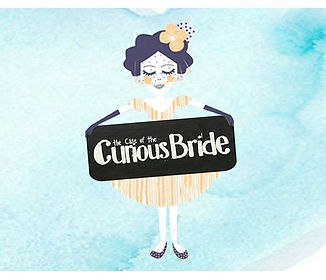 Image of the store brand Curious Bride; Nancy holding a sign saying; The Case of the Curious Bride
