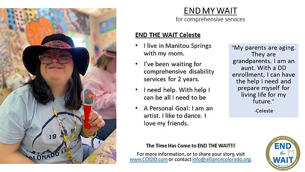 END MY WAIT Celeste from Manitu Springs