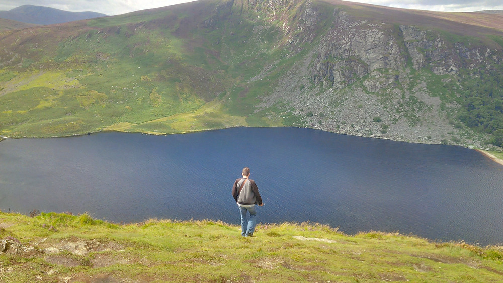 "Peter at Lough Tay (""Guinness Lake"") in Wicklow Mountains"