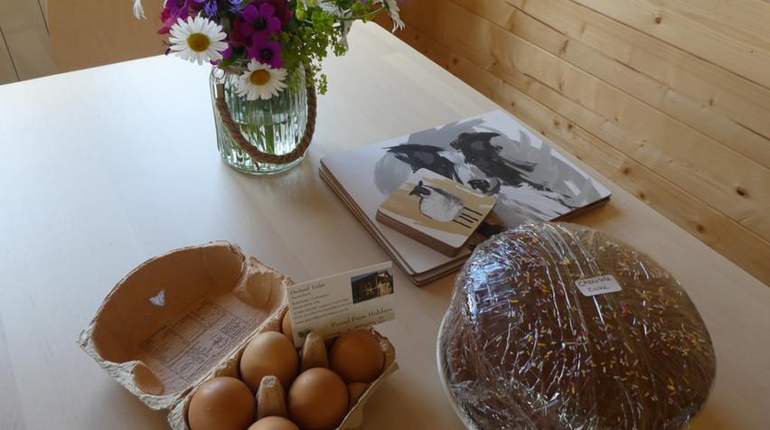 Farm fresh eggs & home baked cake.