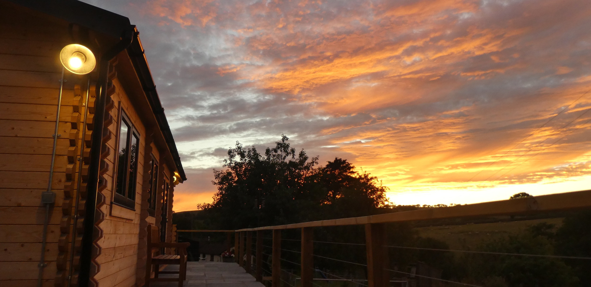 Sun set over the Lodge