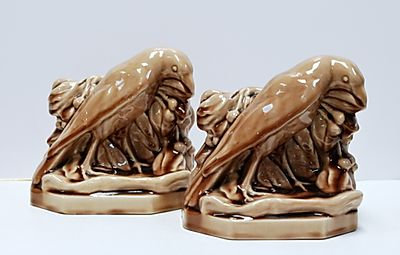 Rookwood Gloss Brown Glaze Rook Bookends, 1946