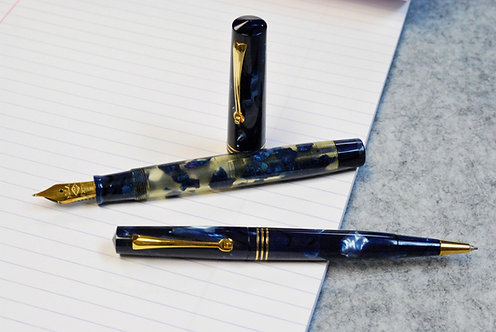 Omas Limited Edition Blue Lucens Fountain Pen and Pencil