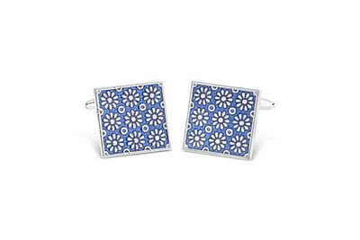 Shiny Rhodium Square w/ Blue Floral Design Enamel