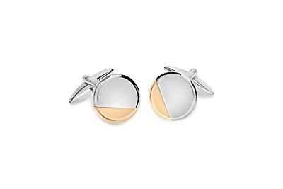 Shiny Rhodium Circle w/ Rose Gold Corner Cufflinks