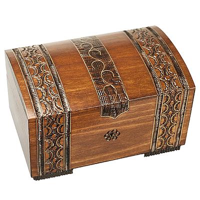 Polish Wood Box - Brass Clad Chest