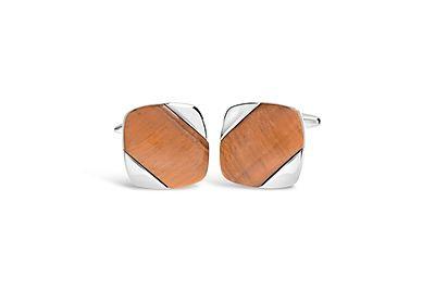 Rhodium Square w/ Tiger Eye Stripe Cufflinks