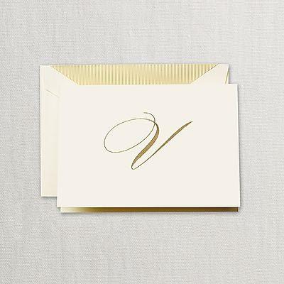 "Crane Hand Engraved Script ""V"" Initial Notes"