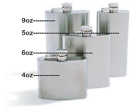 Concord Satin Finish Whiskey Flask (4, 5, 6, 0r 9oz sizes)