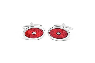 Oval Red Sunburst Design Cufflinks