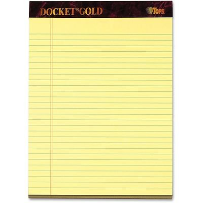 TOPS Docket Gold Legal Pad Canary - Single Pad