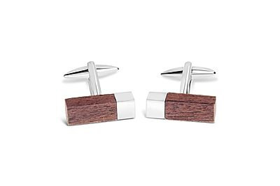 Shiny Rhodium Bar with Wooden Ends Cufflinks