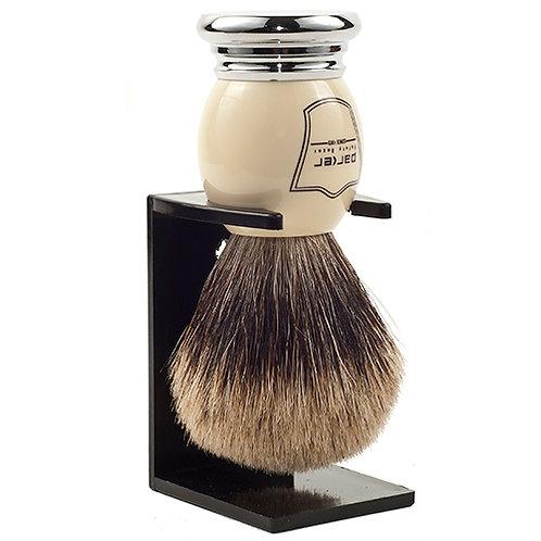 Parker White/Chrome Badger Shaving Brush