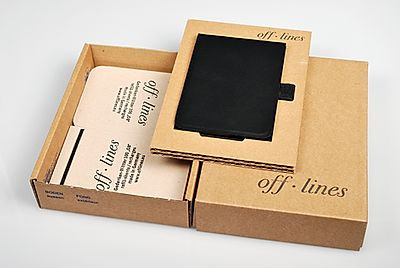 Off-Lines Leather Notetaker - Black Small