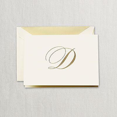 "Crane Hand Engraved Script ""D"" Initial Notes"