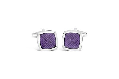 Rhodium Square with Purple Enamel Cufflinks