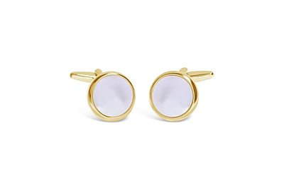 Shiny Gold with Mother of Pearl Cufflinks