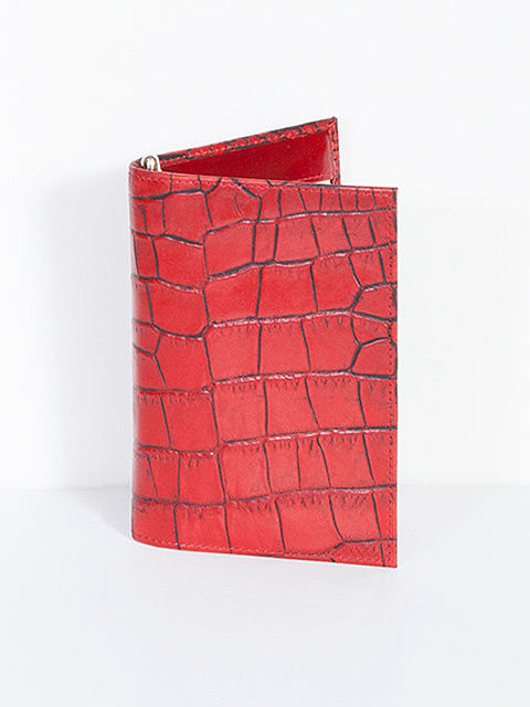 Scully Crocodile Embossed Leather Folded Jotter