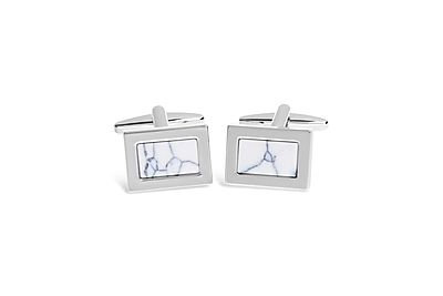Rhodium w/ Marble Effect Mother of Pearl Cufflinks