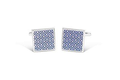 Rhodium Square w/ Blue Geometric Design Cufflinks