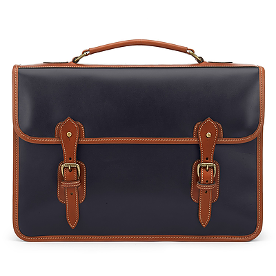 Tusting Harrold Wymington Briefcase - Navy/Tan