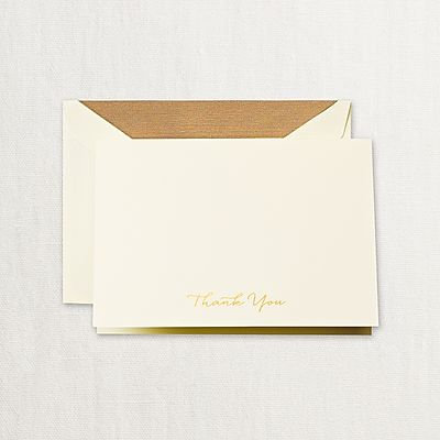 Crane Engraved Gold Script Thank You Notes