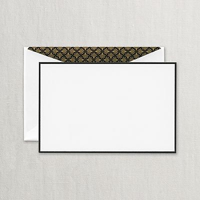 Crane Black Border Correspondence Cards w/ Palm Lining