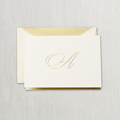 "Crane Hand Engraved Script ""A"" Initial Notes"