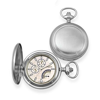 Legere Stainless Steel Pocket Watch w/Days, Month