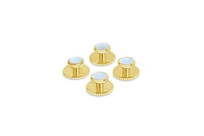 Gold w/ Mother of Pearl Cufflink + Stud Set