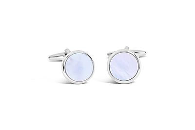 Shiny Rhodium with Mother of Pearl Cufflinks