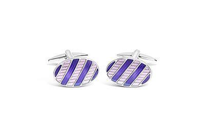 Rhodium Oval w/ Purple Textured Enamel Cufflinks