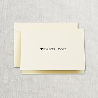 Crane Black Hand Engraved Thank You Notes