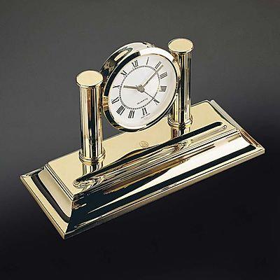El Casco 23K Gold Plated Desk Clock & Pen Holder
