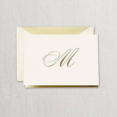 "Crane Hand Engraved Script ""M"" Initial Notes"