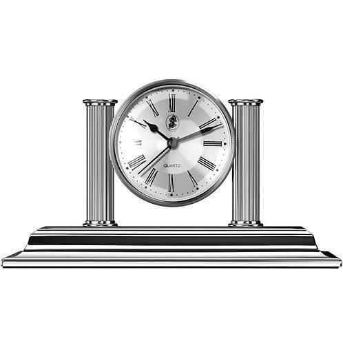 El Casco Chrome Plated Desk Clock & Pen Holder