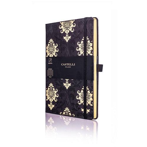 Castelli Black & Gold A5 Medium Ruled Notebook