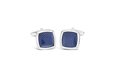 Rhodium Square with Blue Enamel Cufflinks