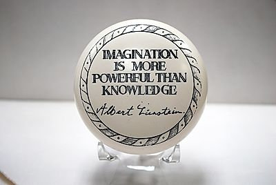 "Paperweight ""Imagination is more powerful than knowledge."""