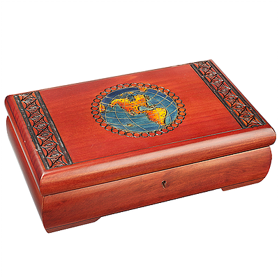 Polish Wood Box - World Map with Lock & Key