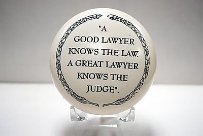 """Paperweight """"A good lawyer knows the law. A great lawyer knows the judge."""""""