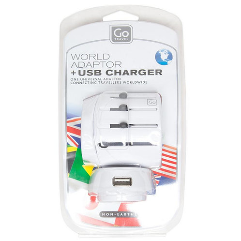 Go Travel World Adaptor + USB Charger