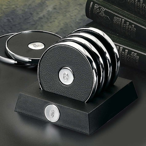 El Casco Chrome & Black Leather Coaster Set