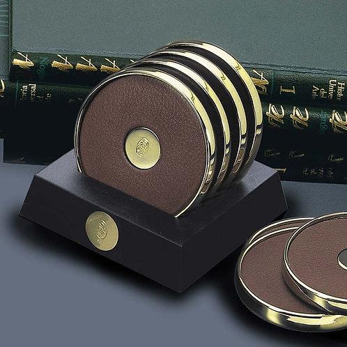El Casco 23K Gold & Brown Leather Coaster Set