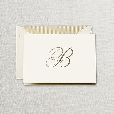 "Crane Hand Engraved Script ""B"" Initial Notes"