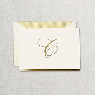 "Crane Hand Engraved Script ""C"" Initial Notes"