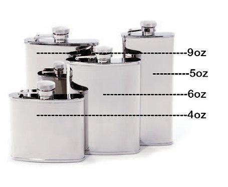 Concord Mirror Polish Whiskey Flask (4, 5, 6, or 9oz sizes)