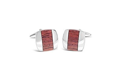 Shiny Rhodium Square w/ Wooden Centre Cufflinks