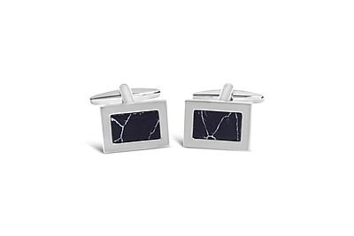 Rhodium Rectangle w/ Marble Effect Onyx Cufflinks